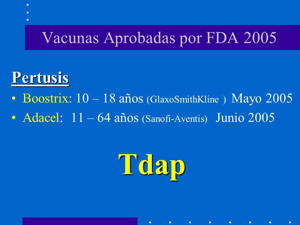 Vacunas Aprobadas por FDA 2005 Pertusis Boostrix: 10 – 18 años (GlaxoSmithKline ) Mayo 2005 Adacel: 11 – 64 años (Sanofi-Aventis) Junio 2005Meningococo Menactra: 11 – 55 años (Sanofi-Pasteur) Enero 2005
