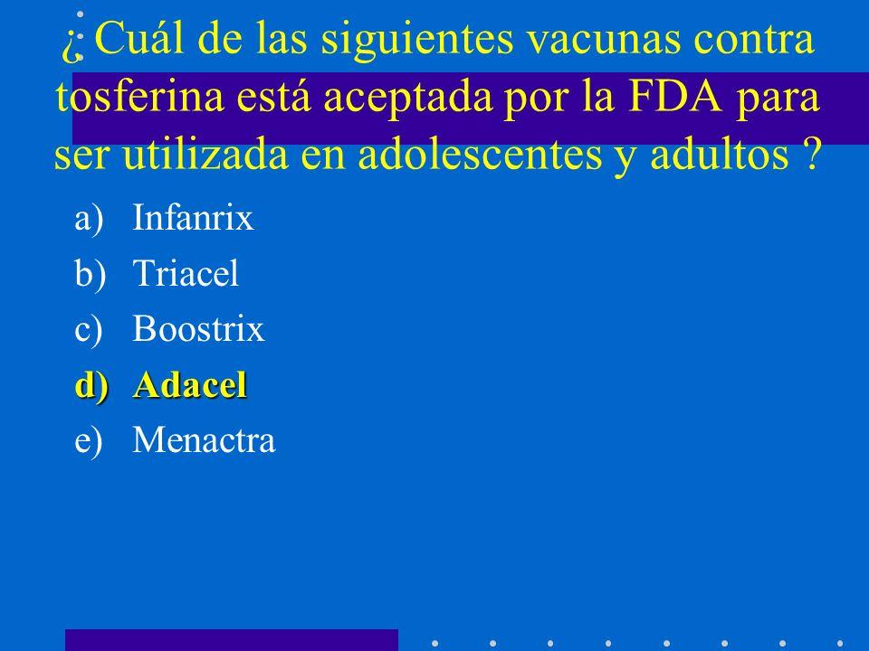 ¿ Cuál de las siguientes vacunas, protege contra Meningococo del grupo B .