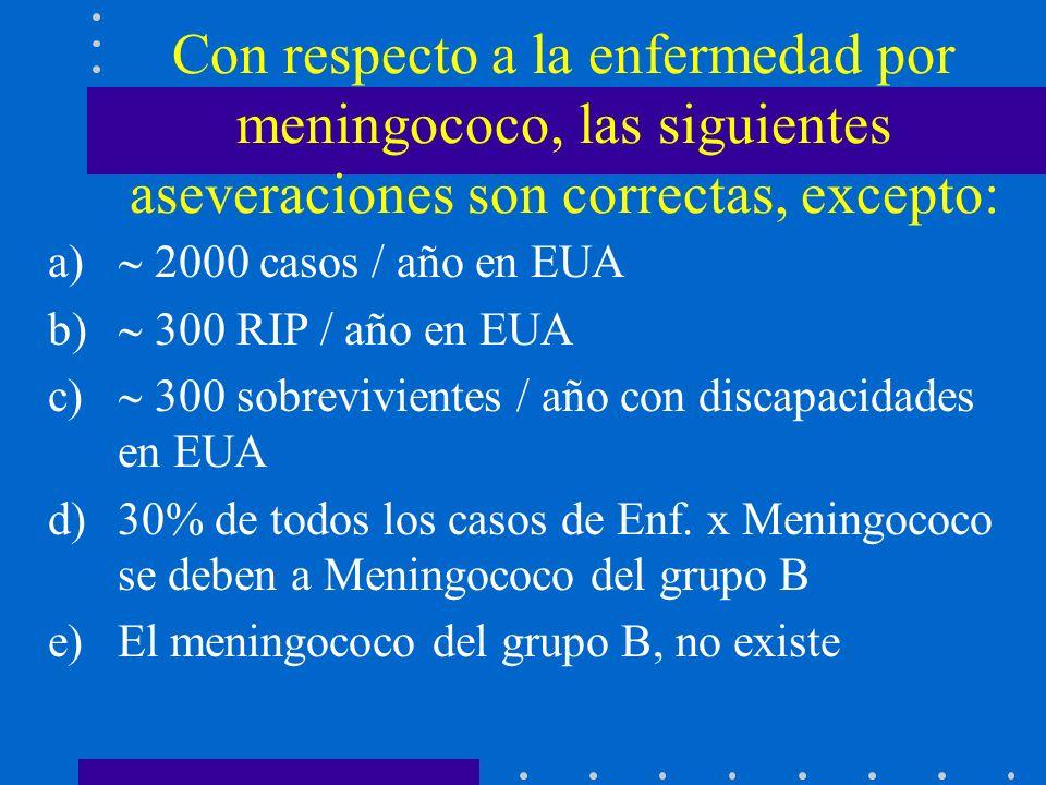 Con respecto a la enfermedad por meningococo, las siguientes aseveraciones son correctas, excepto: a) 2000 casos / año en EUA b) 300 RIP / año en EUA c) 300 sobrevivientes / año con discapacidades en EUA d)30% de todos los casos de Enf.
