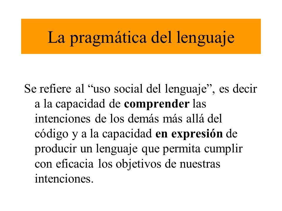 La pragmática de un acto de lenguaje se compone de : 1.elementos ligados a la comunicación inter- personal ( teoría de la mente, empatía emocional...