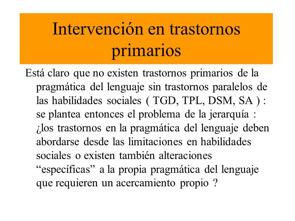 Implicaciones en la intervención MODELOS BASADOS EN LAS HABILIDADES SOCIALES MODELOS QUE INCLUYEN TAMBIÉN INTERVENCIÓN DIRECTA EN ASPECTOS LINGÜÍSTICOS