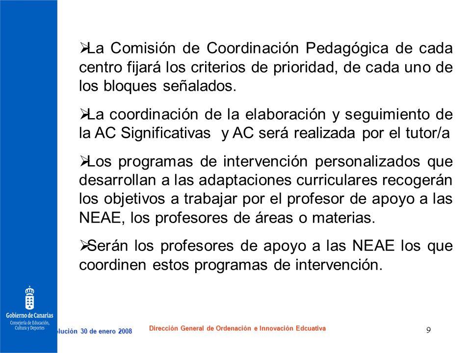 Resolución 30 de enero 2008 Resolución 30 de enero 2008 Dirección General de Ordenación e Innovación Edcuativa 9 La Comisión de Coordinación Pedagógic