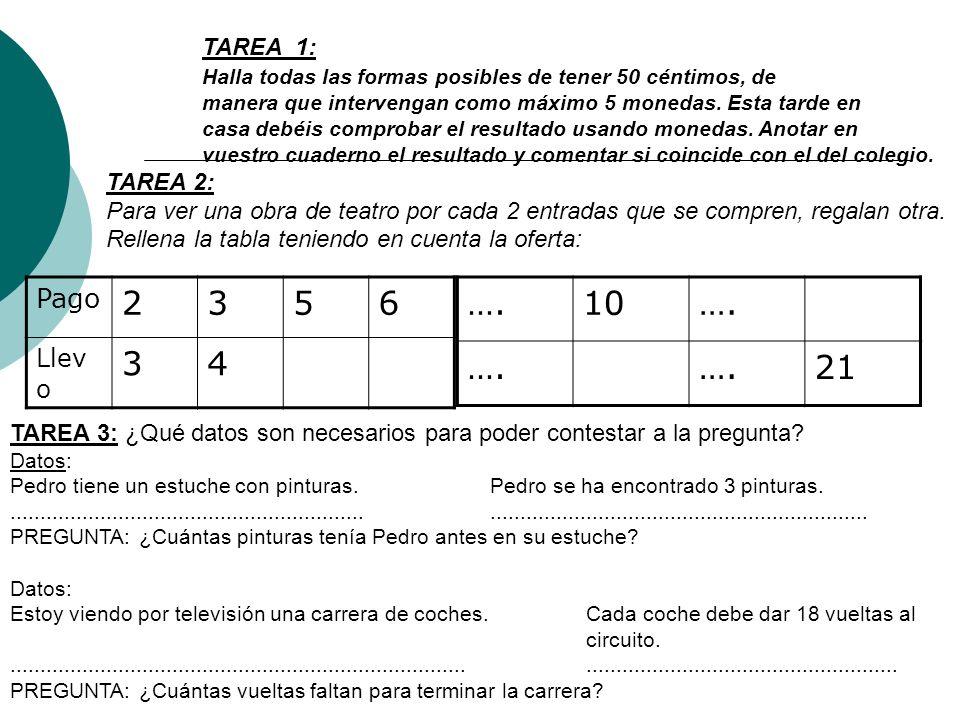 TAREA 1: Halla todas las formas posibles de tener 50 céntimos, de manera que intervengan como máximo 5 monedas.