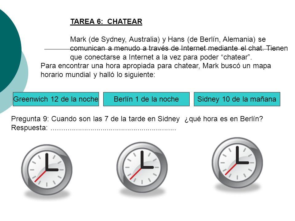 TAREA 6: CHATEAR Mark (de Sydney, Australia) y Hans (de Berlín, Alemania) se comunican a menudo a través de Internet mediante el chat. Tienen que cone