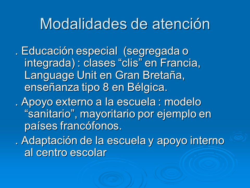 Modalidades de atención. Educación especial (segregada o integrada) : clases clis en Francia, Language Unit en Gran Bretaña, enseñanza tipo 8 en Bélgi