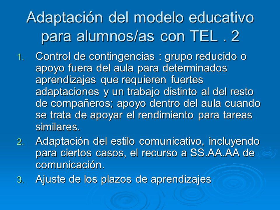 Adaptación del modelo educativo para alumnos/as con TEL. 2 1. Control de contingencias : grupo reducido o apoyo fuera del aula para determinados apren