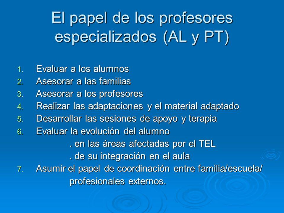 El papel de los profesores especializados (AL y PT) 1. Evaluar a los alumnos 2. Asesorar a las familias 3. Asesorar a los profesores 4. Realizar las a