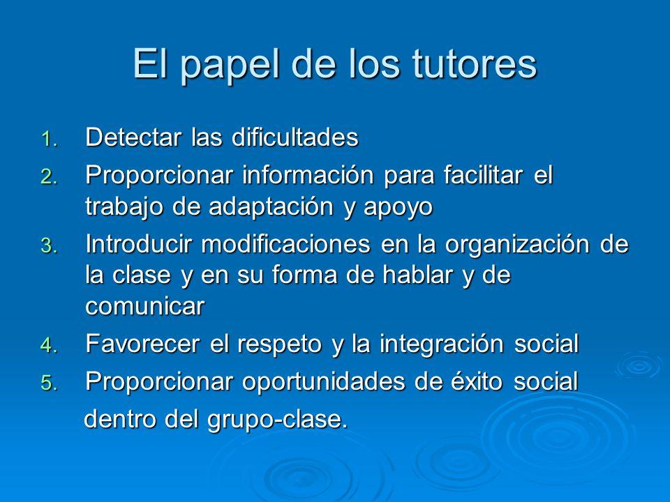 El papel de los tutores 1. Detectar las dificultades 2. Proporcionar información para facilitar el trabajo de adaptación y apoyo 3. Introducir modific