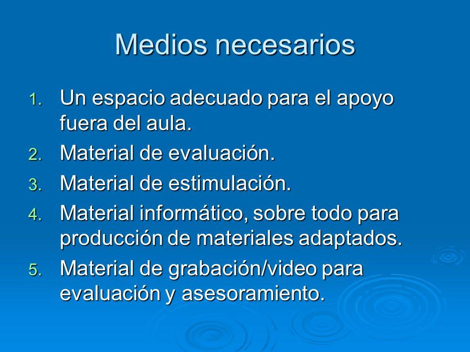 Medios necesarios 1. Un espacio adecuado para el apoyo fuera del aula. 2. Material de evaluación. 3. Material de estimulación. 4. Material informático
