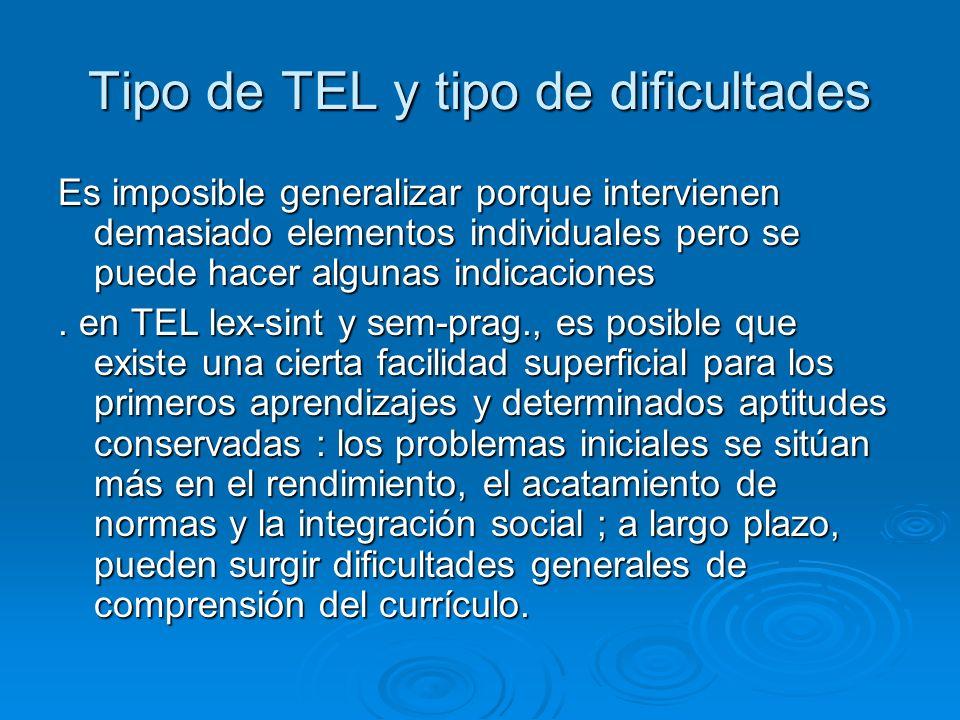 Tipo de TEL y tipo de dificultades Es imposible generalizar porque intervienen demasiado elementos individuales pero se puede hacer algunas indicacion