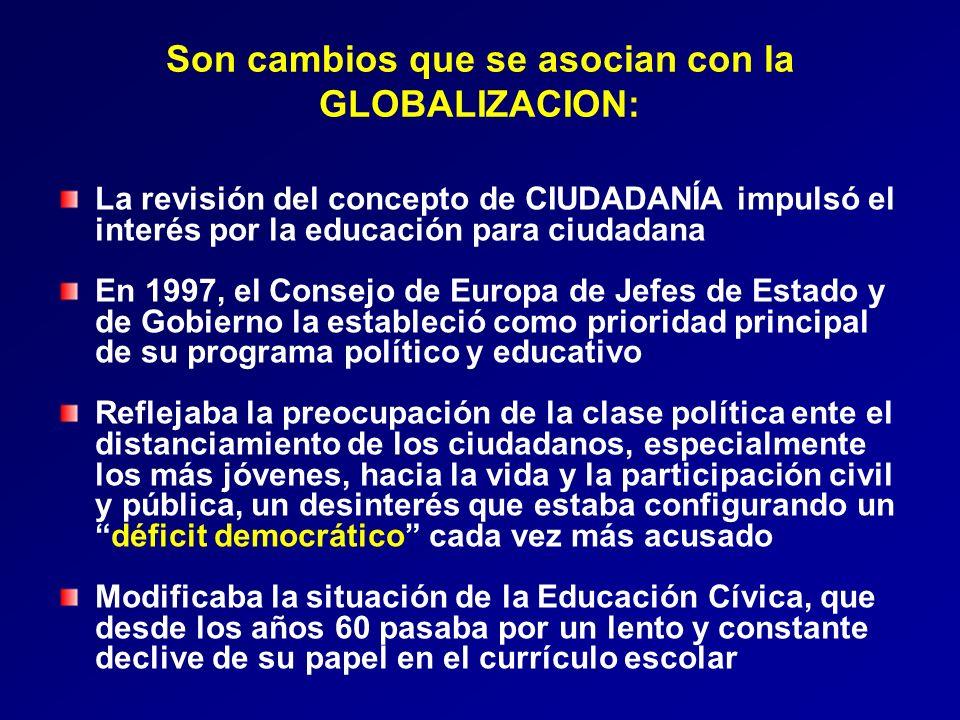 Son cambios que se asocian con la GLOBALIZACION: La revisión del concepto de CIUDADANÍA impulsó el interés por la educación para ciudadana En 1997, el