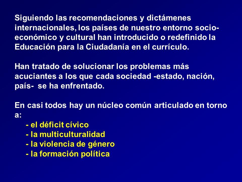 Siguiendo las recomendaciones y dictámenes internacionales, los países de nuestro entorno socio- económico y cultural han introducido o redefinido la