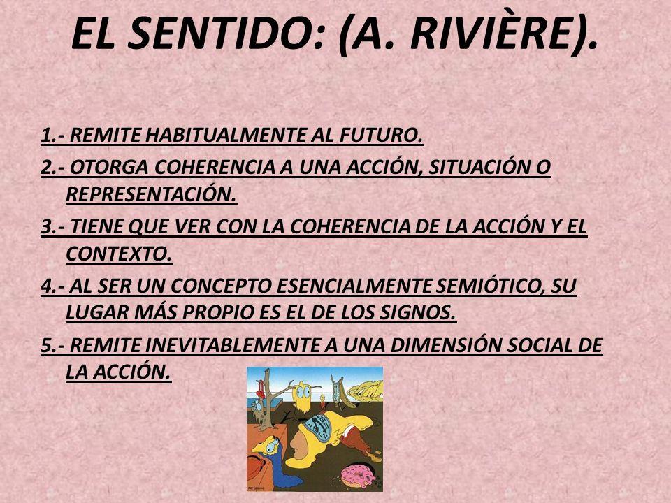 EL SENTIDO: (A. RIVIÈRE). 1.- REMITE HABITUALMENTE AL FUTURO. 2.- OTORGA COHERENCIA A UNA ACCIÓN, SITUACIÓN O REPRESENTACIÓN. 3.- TIENE QUE VER CON LA
