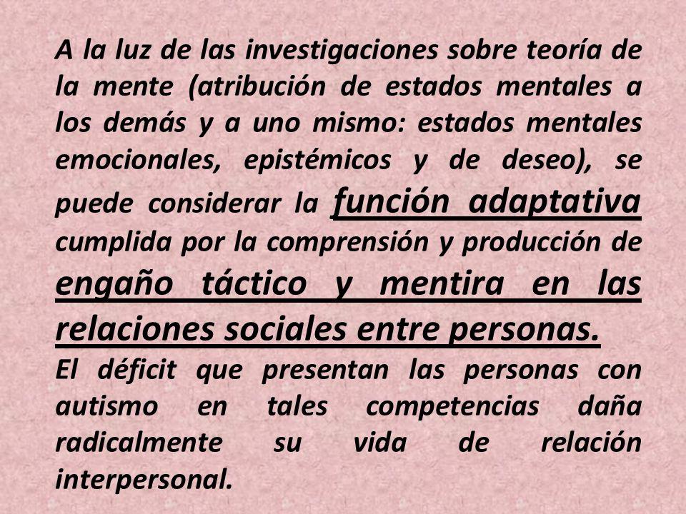A la luz de las investigaciones sobre teoría de la mente (atribución de estados mentales a los demás y a uno mismo: estados mentales emocionales, epis
