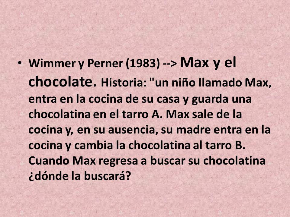Wimmer y Perner (1983) --> Max y el chocolate. Historia: