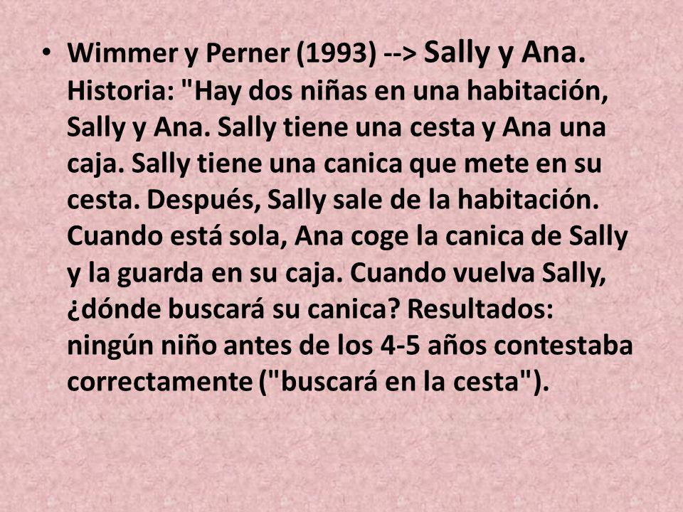 Wimmer y Perner (1993) --> Sally y Ana. Historia: Hay dos niñas en una habitación, Sally y Ana.