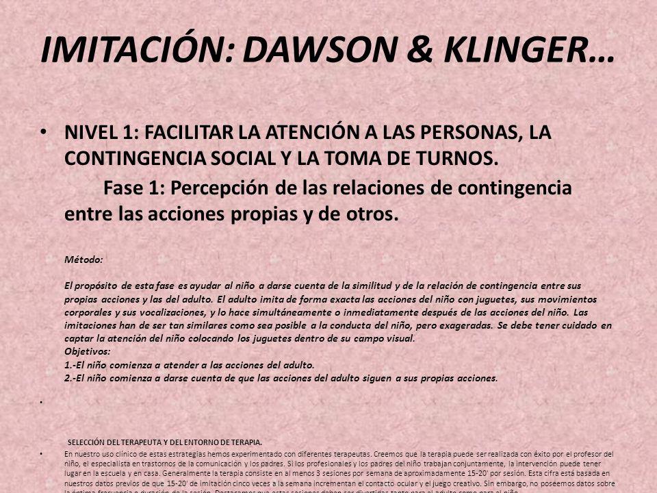 IMITACIÓN: DAWSON & KLINGER… NIVEL 1: FACILITAR LA ATENCIÓN A LAS PERSONAS, LA CONTINGENCIA SOCIAL Y LA TOMA DE TURNOS.