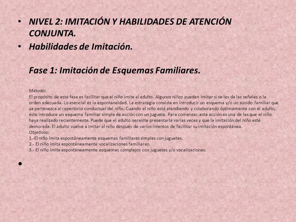 NIVEL 2: IMITACIÓN Y HABILIDADES DE ATENCIÓN CONJUNTA. Habilidades de Imitación. Fase 1: Imitación de Esquemas Familiares. Método: El propósito de est