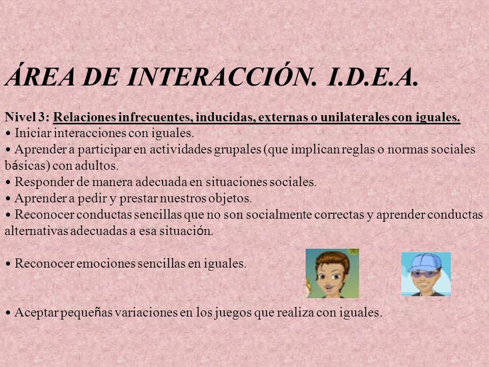 ÁREA DE INTERACCIÓN. I.D.E.A. Nivel 3: Relaciones infrecuentes, inducidas, externas o unilaterales con iguales. Iniciar interacciones con iguales. Apr