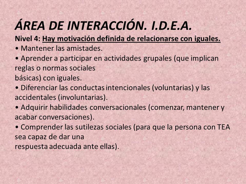 ÁREA DE INTERACCIÓN. I.D.E.A. Nivel 4: Hay motivación definida de relacionarse con iguales. Mantener las amistades. Aprender a participar en actividad