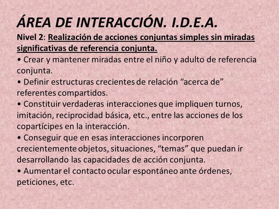 ÁREA DE INTERACCIÓN. I.D.E.A. Nivel 2: Realización de acciones conjuntas simples sin miradas significativas de referencia conjunta. Crear y mantener m