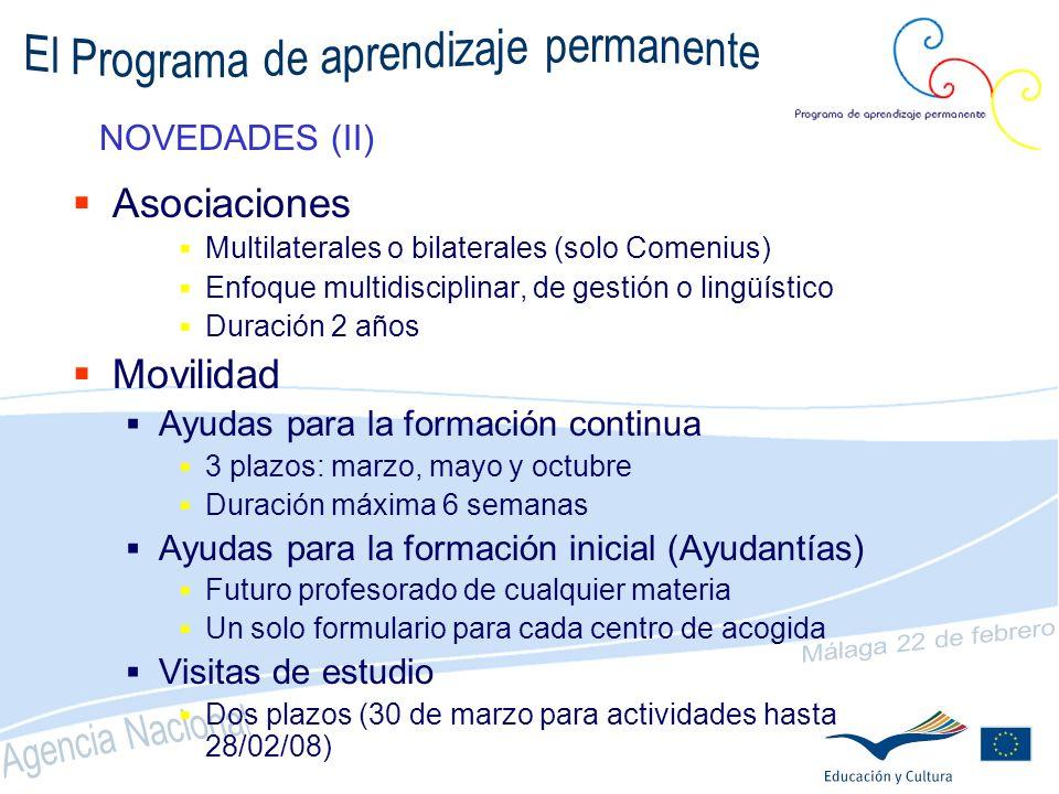 NOVEDADES (I) Convocatoria única para todo el Programa Una sola Agencia para su gestión (OAPEE) Sistema de gestión más simple y eficaz Formulario electrónico obligatorio Proyectos de dos años Financiación mediante subvenciones