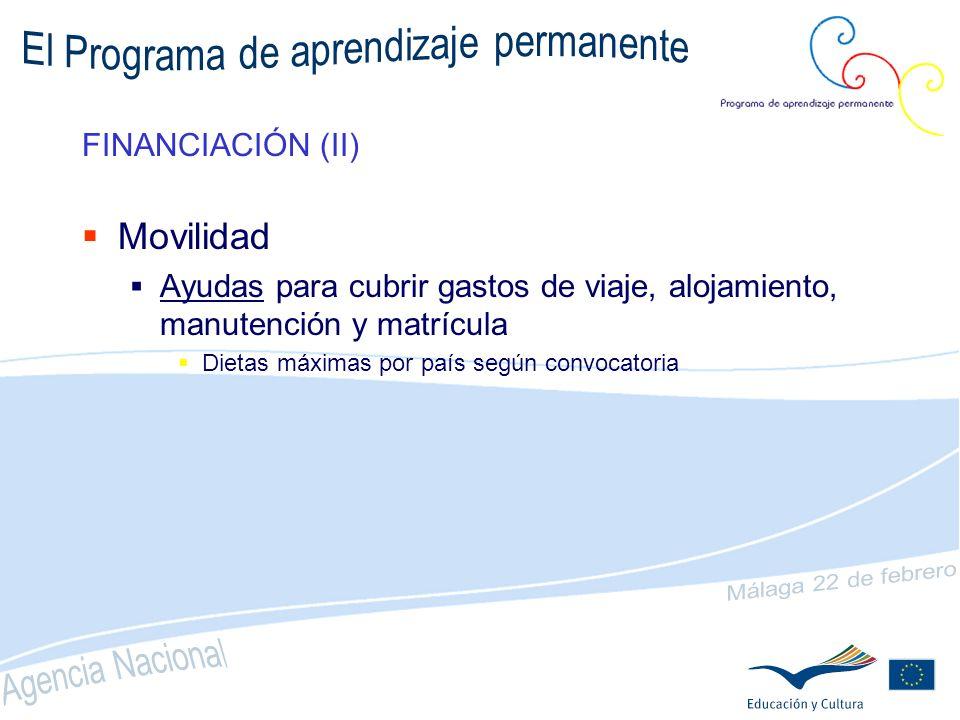 FINANCIACIÓN (I) Asociaciones (subvenciones de acuerdo a nº de movilidades) COMENIUS Pequeña (a partir de 4) max.