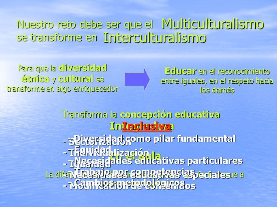 Nuestro reto debe ser que el se transforme en Interculturalismo Para que la diversidad étnica y cultural se transforme en algo enriquecedor Educar en