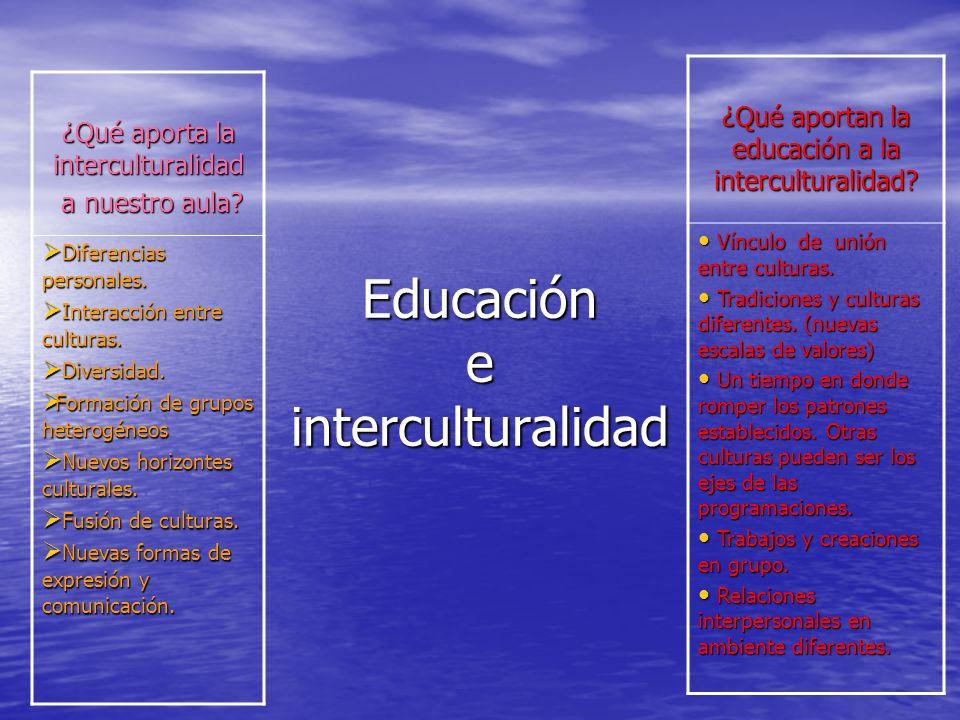 Educación e interculturalidad ¿Qué aportan la educación a la interculturalidad? Vínculo de unión entre culturas. Vínculo de unión entre culturas. Trad