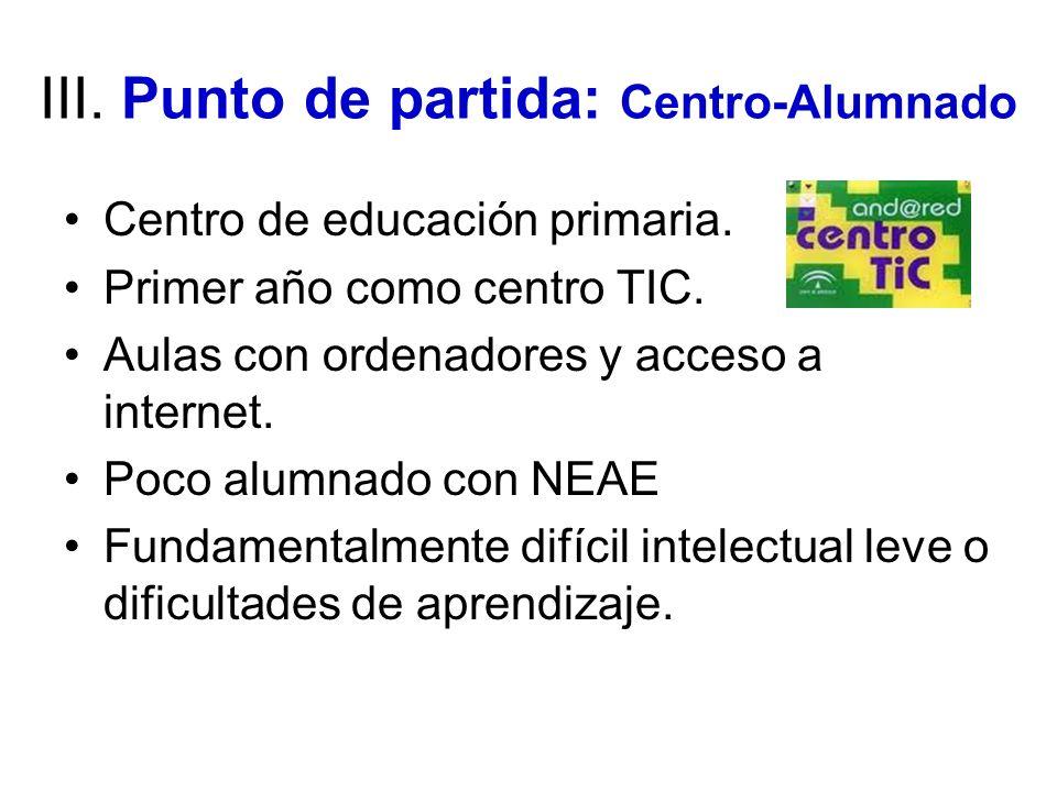 III. Punto de partida: Centro-Alumnado Centro de educación primaria. Primer año como centro TIC. Aulas con ordenadores y acceso a internet. Poco alumn