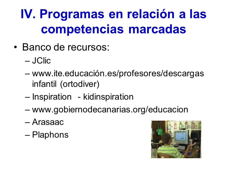IV. Programas en relación a las competencias marcadas Banco de recursos: –JClic –www.ite.educación.es/profesores/descargas infantil (ortodiver) –Inspi