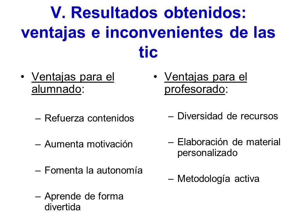 V. Resultados obtenidos: ventajas e inconvenientes de las tic Ventajas para el alumnado: –Refuerza contenidos –Aumenta motivación –Fomenta la autonomí