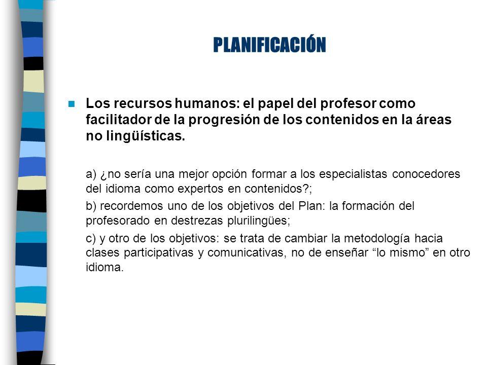 PLANIFICACIÓN Los recursos humanos: el papel del profesor como facilitador de la progresión de los contenidos en la áreas no lingüísticas.
