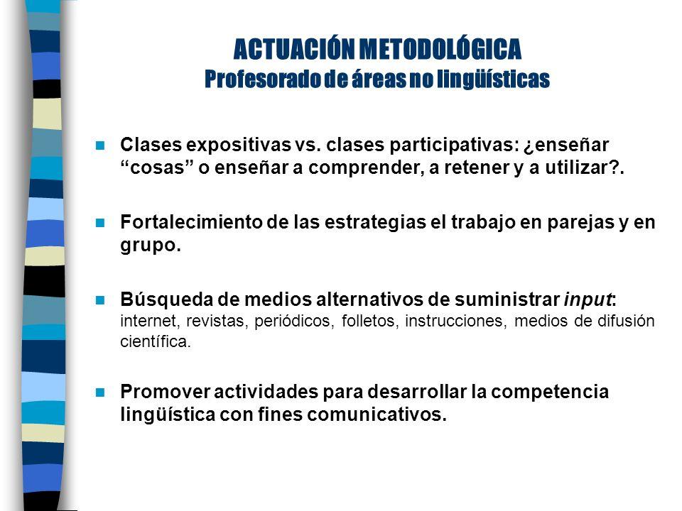 ACTUACIÓN METODOLÓGICA Profesorado de áreas no lingüísticas Clases expositivas vs.