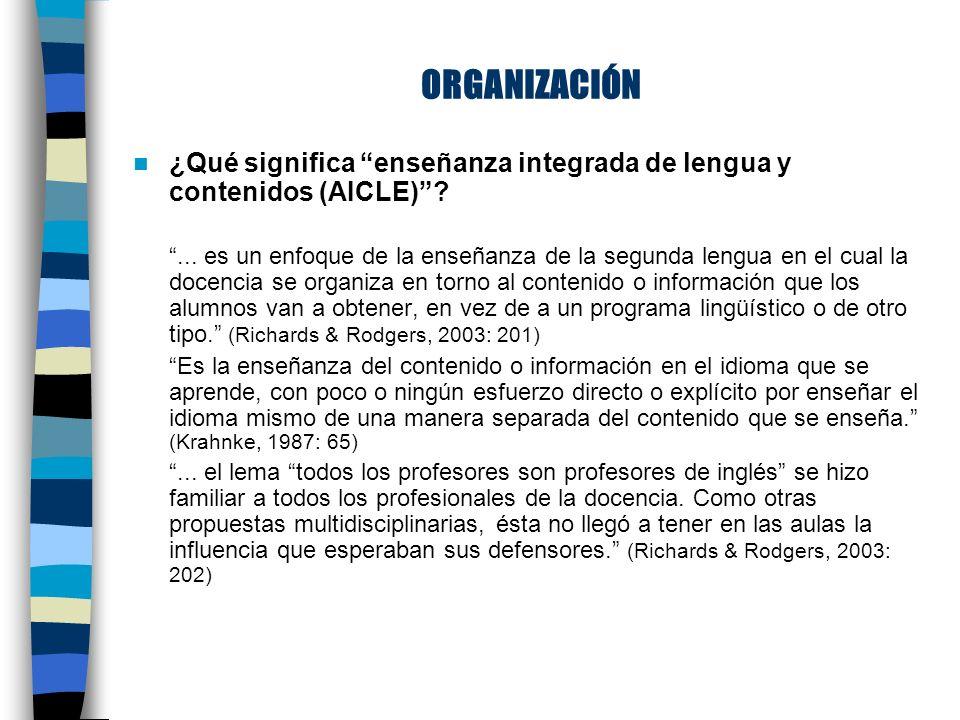 ORGANIZACIÓN ¿Qué significa enseñanza integrada de lengua y contenidos (AICLE) ...
