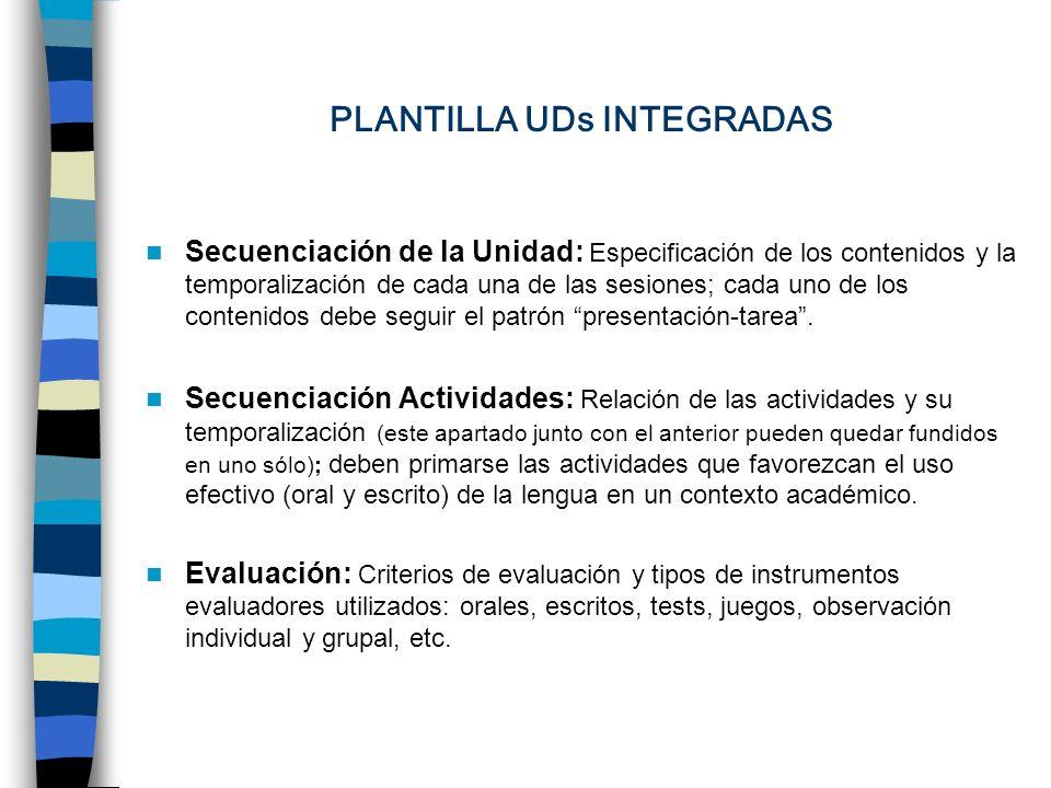 PLANTILLA UDs INTEGRADAS Secuenciación de la Unidad: Especificación de los contenidos y la temporalización de cada una de las sesiones; cada uno de los contenidos debe seguir el patrón presentación-tarea.