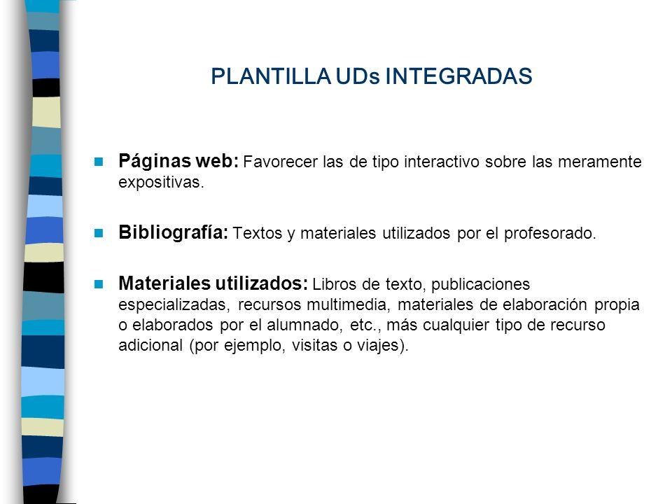 PLANTILLA UDs INTEGRADAS Páginas web: Favorecer las de tipo interactivo sobre las meramente expositivas.