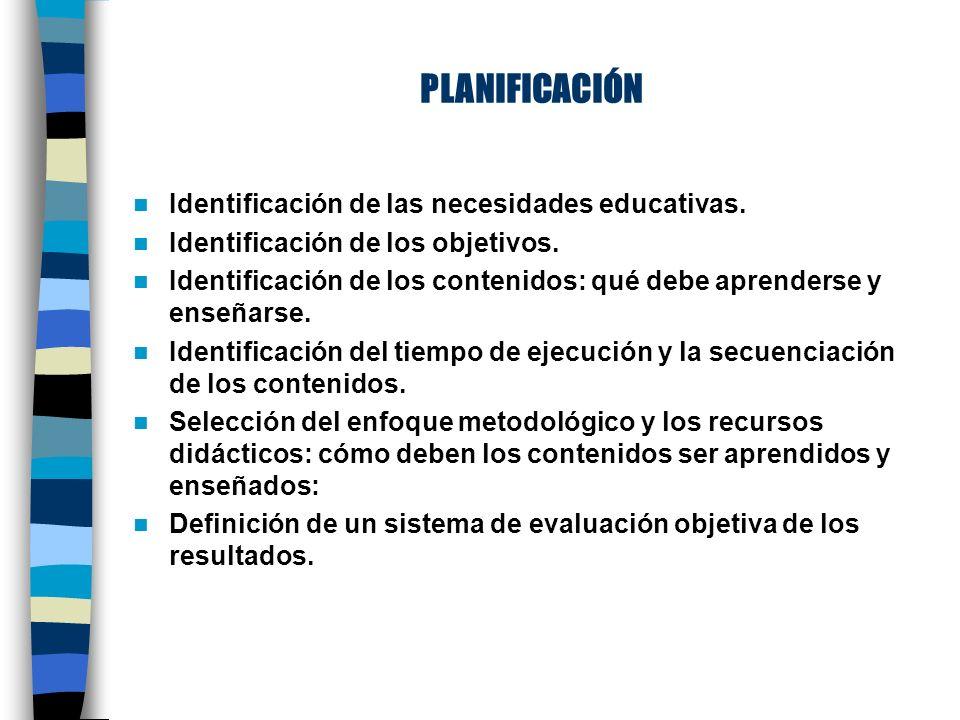 PLANIFICACIÓN Identificación de las necesidades educativas.