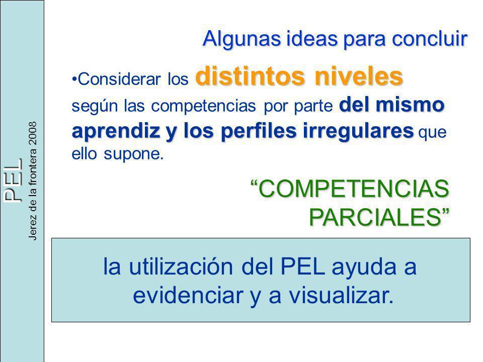 PEL Jerez de la frontera 2008 Algunas ideas para concluir distintos niveles del mismo aprendiz y los perfiles irregularesConsiderar los distintos nive