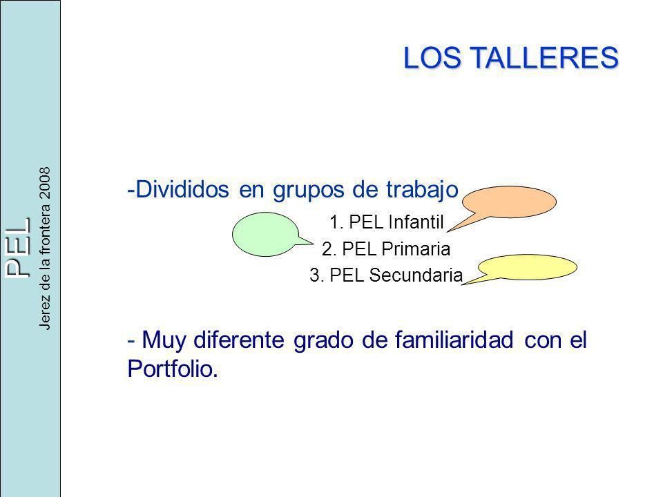 PEL Jerez de la frontera 2008 LOS TALLERES -Divididos en grupos de trabajo 1. PEL Infantil 2. PEL Primaria 3. PEL Secundaria - Muy diferente grado de