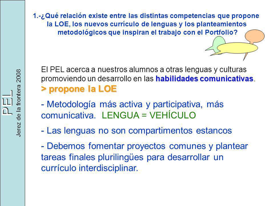 PEL Jerez de la frontera 2008 1.-¿Qué relación existe entre las distintas competencias que propone la LOE, los nuevos currículo de lenguas y los planteamientos metodológicos que inspiran el trabajo con el Portfolio.