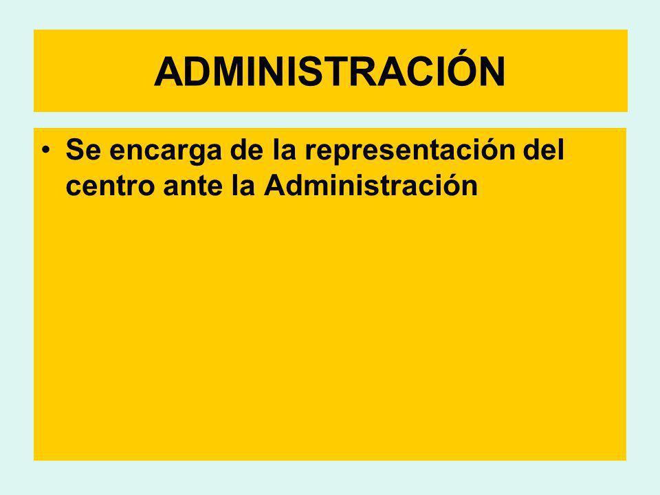 ADMINISTRACIÓN Se encarga de la representación del centro ante la Administración