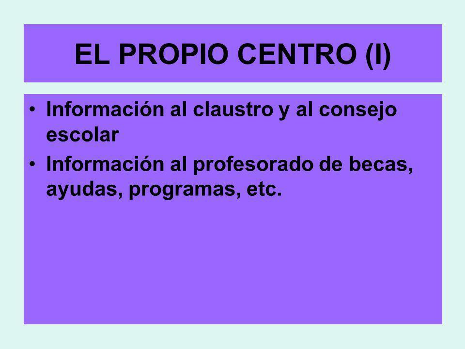 EL PROPIO CENTRO (I) Información al claustro y al consejo escolar Información al profesorado de becas, ayudas, programas, etc.