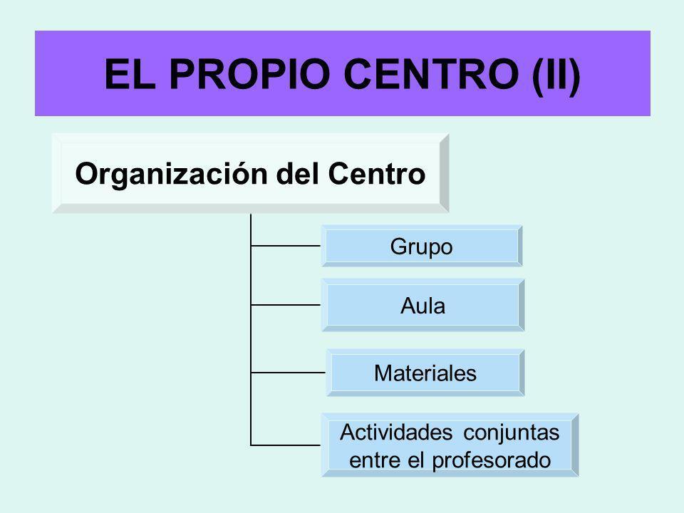 EL PROPIO CENTRO (II) Organización del Centro Grupo Aula Materiales Actividades conjuntas entre el profesorado
