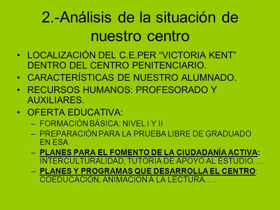 2.-Análisis de la situación de nuestro centro LOCALIZACIÓN DEL C.E.PER VICTORIA KENT DENTRO DEL CENTRO PENITENCIARIO. CARACTERÍSTICAS DE NUESTRO ALUMN