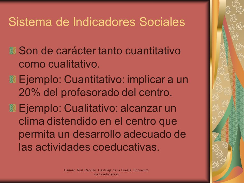 Carmen Ruiz Repullo. Castilleja de la Cuesta. Encuentro de Coeducación Sistema de Indicadores Sociales Son de carácter tanto cuantitativo como cualita