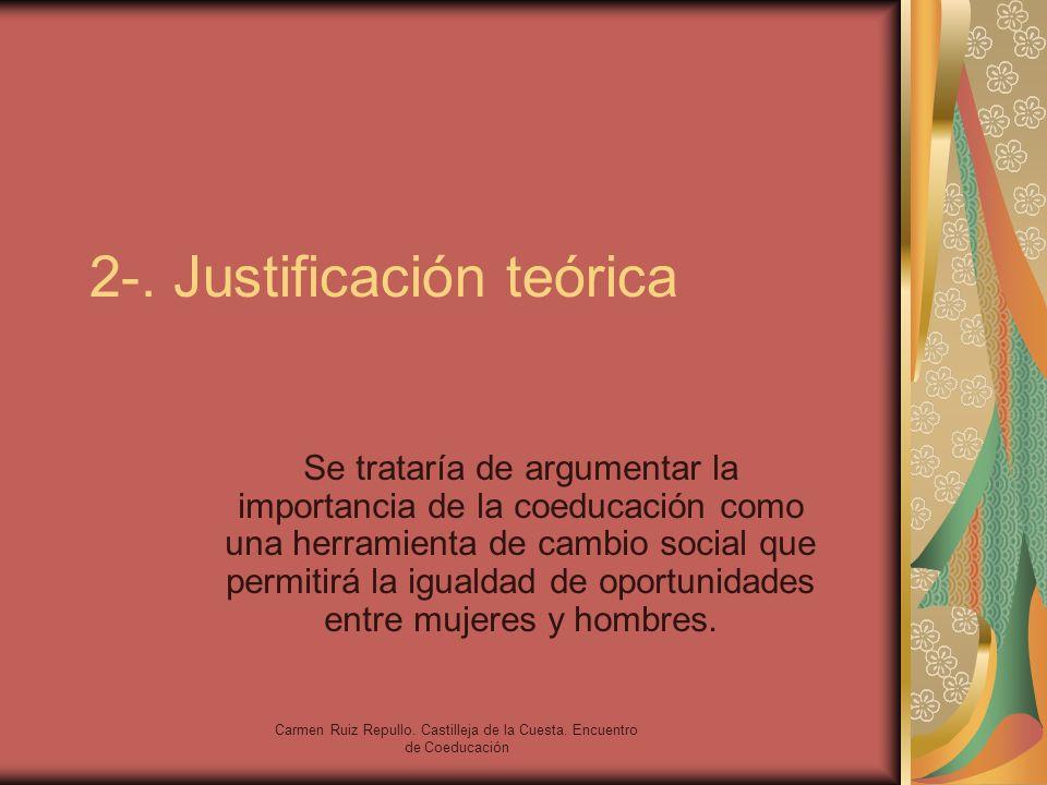 Carmen Ruiz Repullo. Castilleja de la Cuesta. Encuentro de Coeducación 2-. Justificación teórica Se trataría de argumentar la importancia de la coeduc