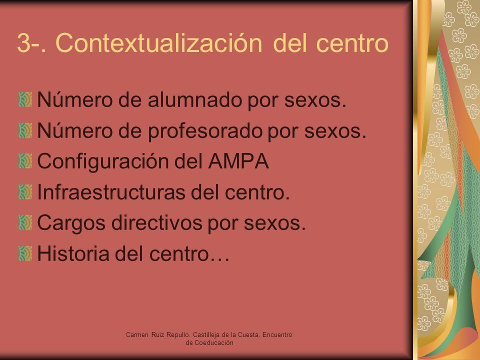 Carmen Ruiz Repullo. Castilleja de la Cuesta. Encuentro de Coeducación 3-. Contextualización del centro Número de alumnado por sexos. Número de profes