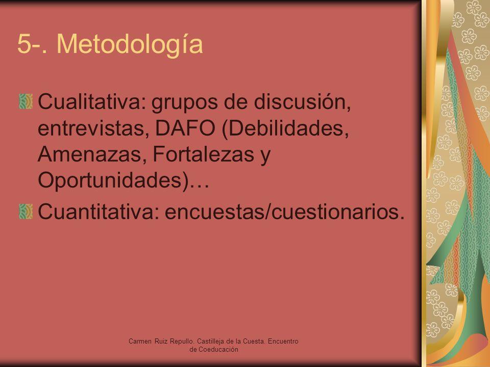 Carmen Ruiz Repullo. Castilleja de la Cuesta. Encuentro de Coeducación 5-. Metodología Cualitativa: grupos de discusión, entrevistas, DAFO (Debilidade