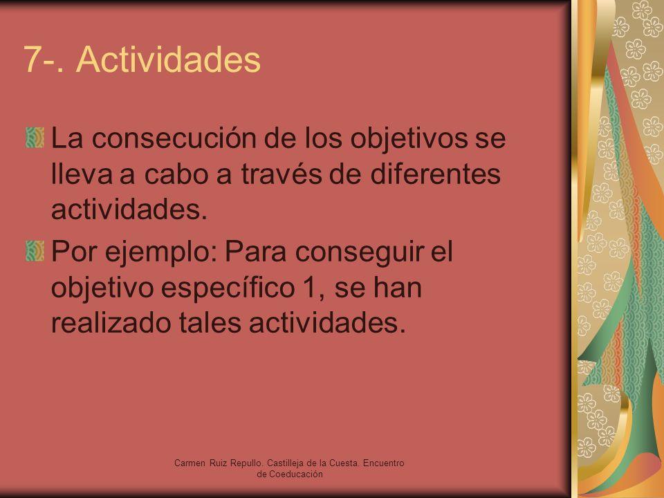 Carmen Ruiz Repullo. Castilleja de la Cuesta. Encuentro de Coeducación 7-. Actividades La consecución de los objetivos se lleva a cabo a través de dif